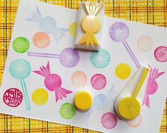 candy rubber stamps | bubble gum candy lollipop | birthday christmas card making | diy favor bags | hand carved by talktothesun | set of 3