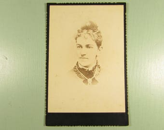 Woman Cabinet Card - Vintage Lady Jewelry Photograph