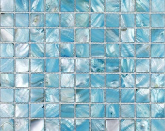 Freshwater Shell Tile 100% Natural Mother of Pearl Tiles Turquoise Seashell Mosaic Stained Kitchen Backsplash Wall Squares