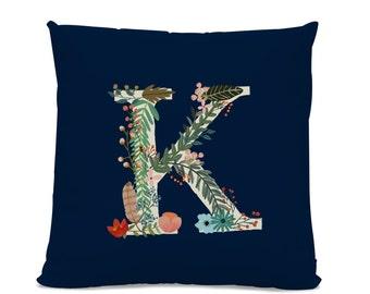 Initial Pillow - Floral Letter Pillow - Pillow with Letter K - Monogrammed Pillow - Custom Throw Pillow Flower Monogram Pillow