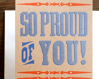 So Proud Of You Lettepress card