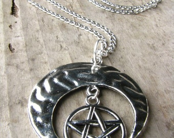 Moon and pentagram necklace, Pentacle Protection, Wiccan jewelry