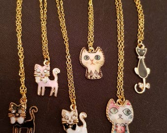 Pussy Cat Necklace Unique Gift Her under 10 22 inch Long enamel kitten crystal diamante pendant fur baby Jewelry For Mom Sister Hostess pink