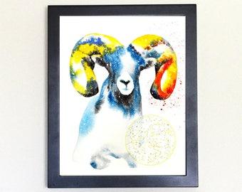 Ram Spirit Animal Art Print Watercolor Totem Guide