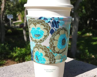 FREE SHIPPING UPGRADE with minimum -  Fabric coffee cozy / cup sleeve / coffee drink sleeve / Chrysanthemum
