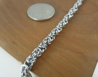 Small Aluminum Byzantine Chain Bracelet, Chainmaille Bracelet, Chainmail Bracelet