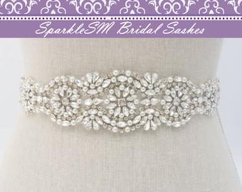 Pearl Sash, Bridal Sash, Bridal Belt, Swarovski Sash, Pearl Bridal Sash, Rhinestone Applique, Crystal Bridal Sash, Bridesmaids Sash