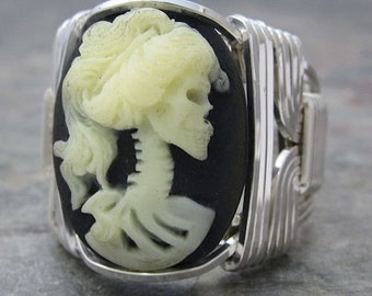 Lady Skull Acrylic Cameo Sterling Silver Wire Wrapped Ring ANY size