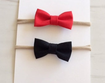 Hairbow - red, black cotton