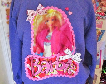 Barbie sweatshirt purple 80s party pastel sweater fairy kei 90s fashion shirt size extra large XL 2X