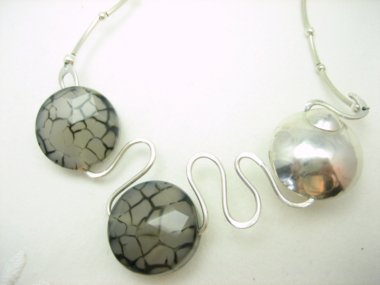 Unique hammered silver necklace with gray and black cracked agate, polka dotted silver bead-artisan made agate and hammered silver necklace