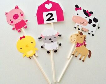 12 Farm Barnyard Cupcake Toppers, Animal Party Toppers, Cupcake Toppers, Animal Party Decor, Cake Toppers, Farm Birthday, Old MacDonald