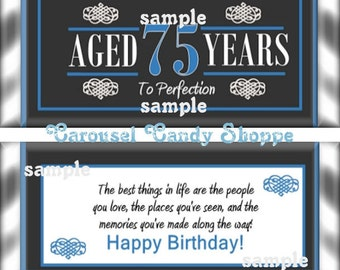 75th Birthday Party Favors Hershey's Candy Bar Wrappers Blue