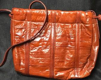 Vintage Purse Brown Genuine Eel Skin Shoulder Bag