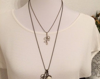 Double necklace, bronze necklace, bird and leaf necklace
