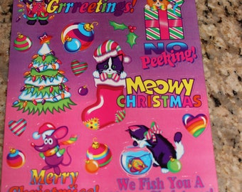 Vintage Lisa Frank Holiday Silly Sender Stickers S484