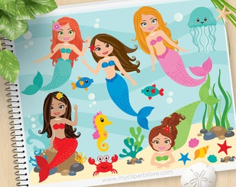 Little Mermaids Clipart, Mermaid Princess, Under the Sea, sea horse, starfish, jelly fish, Commercial Use, Vector clip art, SVG Cut Files