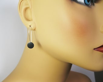 Mixed Metal Earrings - Jet Black Earrings - Sterling Silver and Copper Earrings