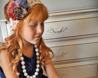 Ivory  Stretch Lace Navy Flower Girls Headband Hair Band