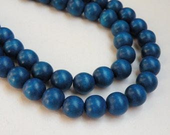 Royal Blue wood beads round 12mm full strand eco-friendly Cheesewood 9482NB