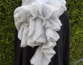 Grey ruffle scarf, Wool ruffle scarf, soft knit scarf ruffles, special yarn scarf, fashion scarf knit, soft and warm scarf.