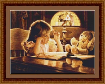 Girl Reading Book to a Teddy Bear Counted Cross Stitch Pattern in PDF for Instant Download