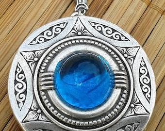 Aquamarine Stargate Art Deco silver locket necklace March birthstone bridal wedding bridesmaid gift