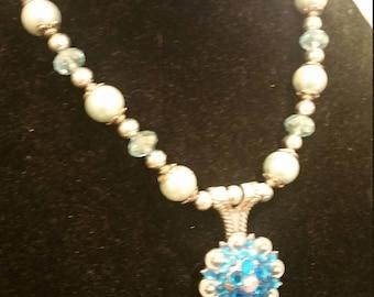 Silver and blue sworovski Concho necklace