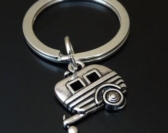 Camper Keychain, Custom Keychain, Custom Key Ring, Trailer Pendant, Trailer Charm, Camper Jewelry, Trailer Keychain, Camping Gifts, Camper