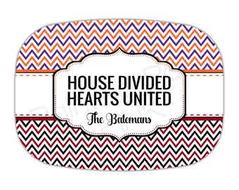 House Divided Hearts United Personalized Melamine Platter - Chevron (personalized with your 2 teams' colors)