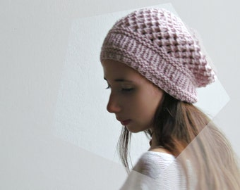 Light pink Slouchy beanie / Slouchy hat / Winter hat / Dust pink  Beanie /  33 DIFFERENT COLORS