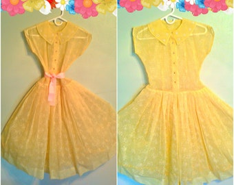 Lovely Lemon Meringue Yellow Dress / 50's / Spring/ Garden Party / Pin Up / Easter /Rhinestone Buttons / Springtime / Med
