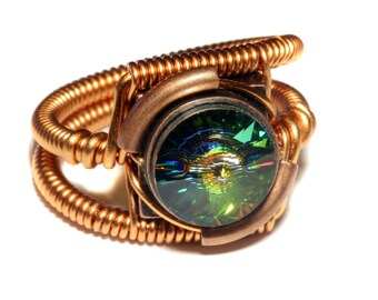 Steampunk Jewelry - Ring - Copper with Vitrail Swarovski Crystal