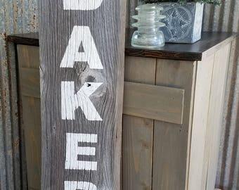 Reclaimed Barn Wood Bakery Sign