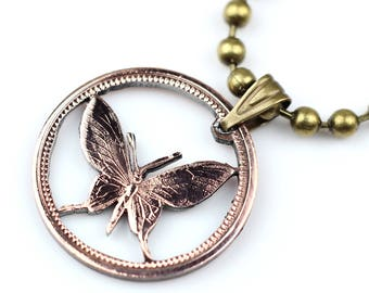 Papua New Guinea butterfly 1 cent cut coin pendant with necklace