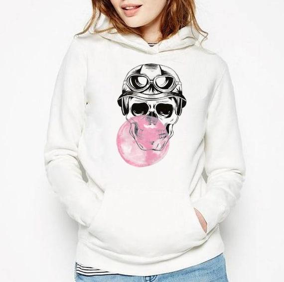 Sugar Skull with bubble gum balloon | Unisex Hooded Sweatshirt | Graphic hoodie | Calaveras| Day of the dead | Aviator| Tattoo | ZuskaArt