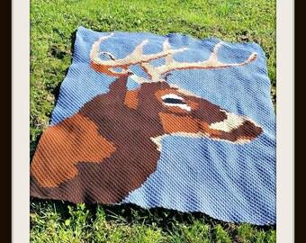 Deer at Night, Deer Afghan, Deer C2C Graph, Deer Crochet Pattern