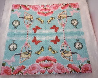 Set of 2 paper napkins with birds