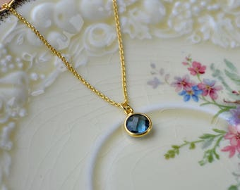 London Blue Topaz Necklace, December Birthstone Jewelry Gift, Blue Pendant Blue Gemstone Necklace, Blue & Gold Necklace Blue Bridal Necklace