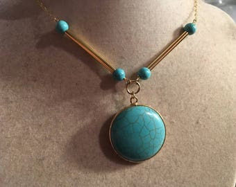Turquoise Necklace - Gold Jewelry - Chain Jewellery - Gemstone - Pendant