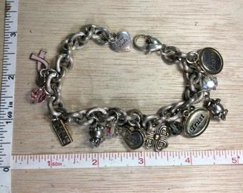 """Vintage 9"""" Bracelet Hearts Cancer Awareness Used"""