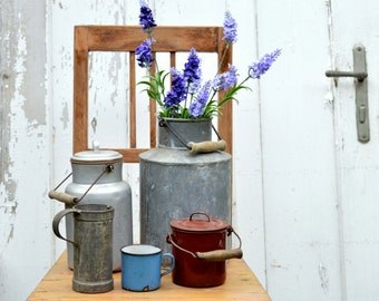Vintage enamel can - milk pail pot