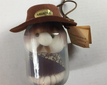 Captured Cowboy In A Jar Arizona Funny Collectible Hat Mustache Old West