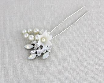 Bridal hair pins, Flower hair pins, Swarovski crystal hair pins, Bridal hair comb, Pearl hair pins, White opal hair piece, Wedding headpiece