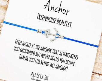 """Silver Anchor Friendship Bracelet with """"Thank You For Being My Anchor"""" Card 