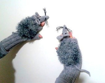 Wool hand knit Rat  gloves, mice gloves, fingerless animal  gloves , knitting rat glove  ,animal children  costume