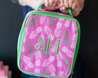 Monogram Pineapple Lunch Bag, Personalized Pineapple Insulated Lunch Box, Monogrammed Lunch Box, Girls Lunch Box