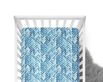 Fitted Crib Sheet Blue Herringbone Watercolor - Blue Crib Sheet- Herringbone Crib Sheet- Chevron Crib Sheet- Crib Bedding-Baby Bedding-