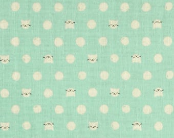 Cat Lady Mint Kitty Double Gauze Lightweight Cotton and Steel Fabric BTY
