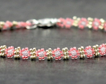 Pink and Silver Daisy Anklet - Chain Ankle Bracelet - Beaded Jewelry - Seed Bead Anklet - Foot Jewelry - Summer Anklet - Beach Jewelry